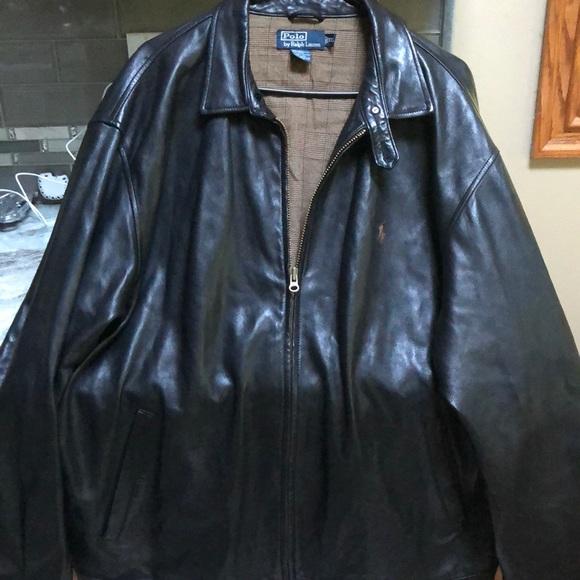 Bomber Xxl Jacket Brown Leather Ralph Lauren tdsQChrx